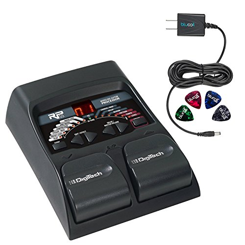 DigiTech RP55 Multi-FX Pedal with Built-In Guitar Tuner -INCLUDES- Blucoil Power Supply Slim AC/DC Adapter for 9 Volt DC 670mA AND 4 Blucoil Guitar Picks by blucoil