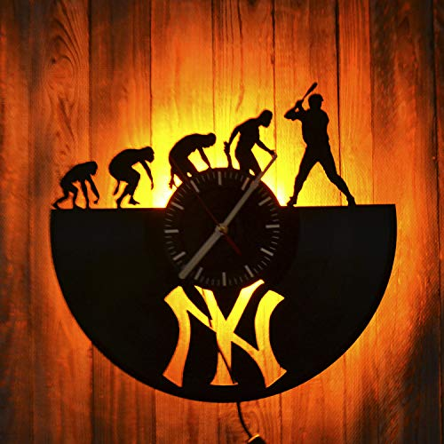 New York Yankees Baseball Gift Led Light Vinyl Record Wall Clock - Get Unique Bedroom or livingroom Wall Decor - Gift Ideas for Boys and Girls Perfect Element of The Interior Unique Modern Art
