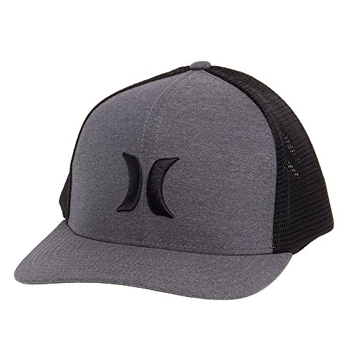 Hurley Men's ONE and Textures Snapback Curved Bill Trucker HAT, Black, L-XL (Embroidered Hat Hurley)