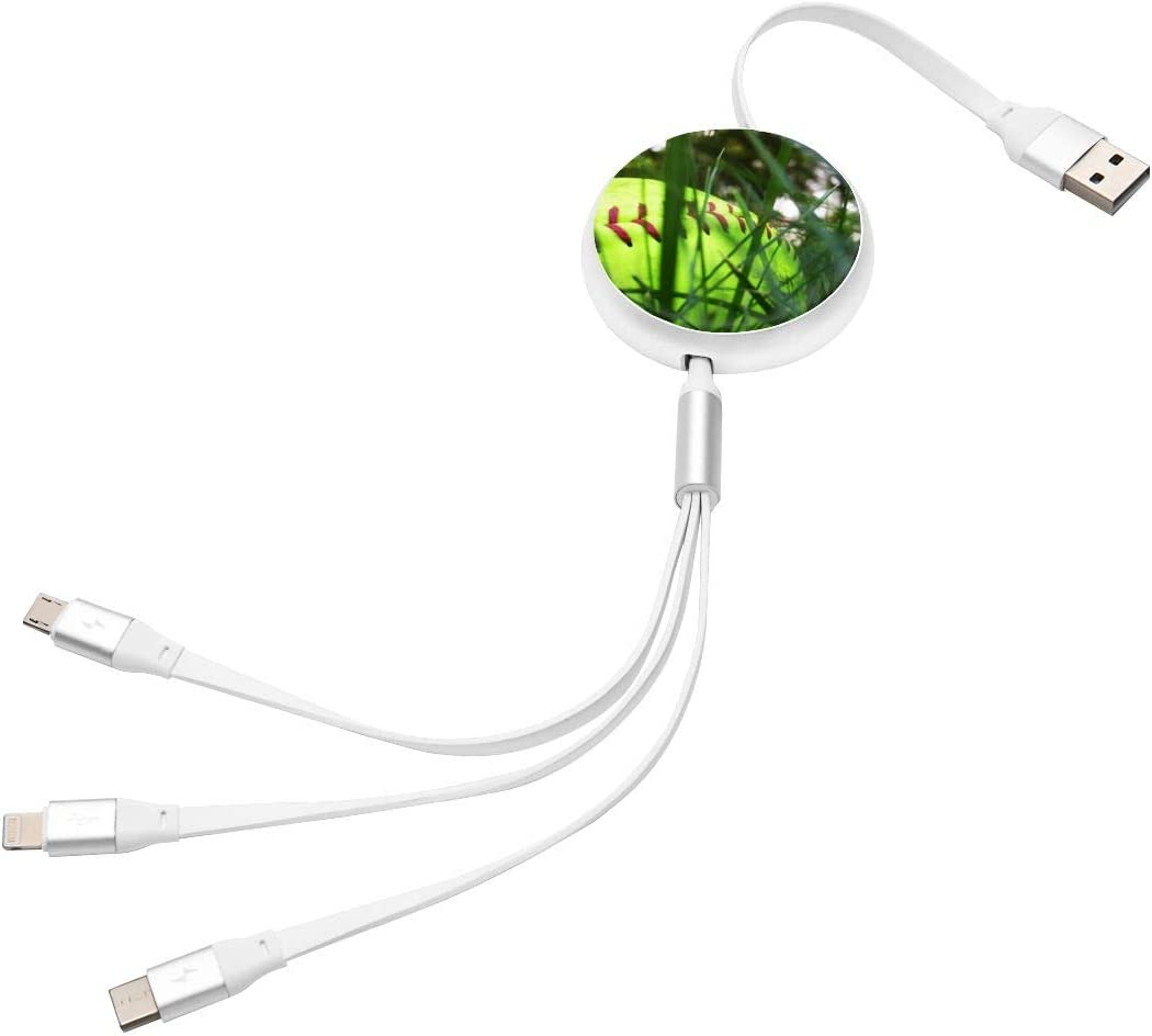 3-in-1 Retractable USB Charging Cable Grass Softball Fast Charging Reusable Charging Cord Adapter Compatible with Cell Phones Tablets Universal Use