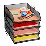 4 Tier Pack Stackable Tray Office Desk Organizer