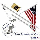 A-ONE 6Ft Tangle Free Spinning Flagpole Deluxe Aluminum American US Flag Pole Kit with Stainless Steel Rust Prevention Clip and Free Bracket for Outdoor Residential or Commercial Wall Mount, Silver