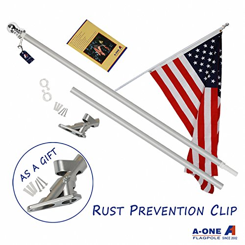 A-ONE 6Ft Tangle Free Spinning Flagpole Deluxe Aluminum American US Flag Pole Kit with Stainless Steel Rust Prevention Clip and Free Bracket for Outdoor Residential or Commercial Wall Mount, Silver - Flagpole Bracket Wall Mount