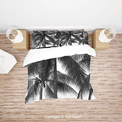 FashSam Duvet Cover 4 Pcs Comforter Cover Set Palm Tree Silhouette Exotic Plant on Dark Thema Foliages Relax in Nature Image for Boys Grils Kids(Double)