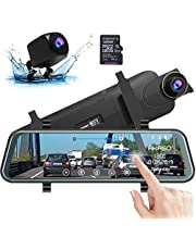 Mirror Dash Cam,Dash Cam,AKASO DL9 Mirror DashCam FHD 1080P 10 Inch Stream Media Full Touch Screen,Dash Cam Front and Rear View Backup Camera with Night Vision G-Sensor Parking Monitor Included 32GB Card