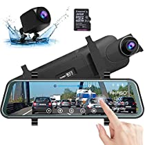 AKASO DL9 Mirror Dash Cam FHD 1080P 10 Inch Stream Media Full TouchScreen,Dash Cam Front and Rear View Backup Camera with Night Vision G-Sensor Parking Monitor Included 32GB Card