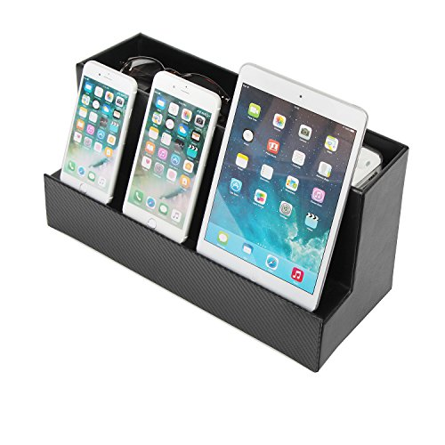 Phone Tablet Mobile Phone Cell Phone Charging Station Charger Dock, Multi Device Cord Cable Organizer Stand Holder Outlet(Black) - MK185 (Cell Phone Organizer)