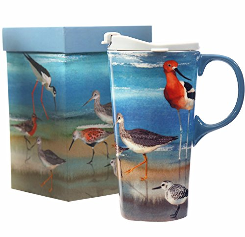 CEDAR HOME Travel Coffee Ceramic Mug Porcelain Latte Tea Cup With Lid in Gift Box 17oz. Spotted Redshank