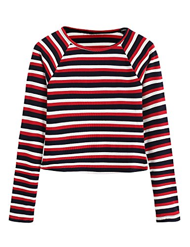 Milumia Women's Casual Striped Ribbed Tee Knit Crop Top X-Large Red