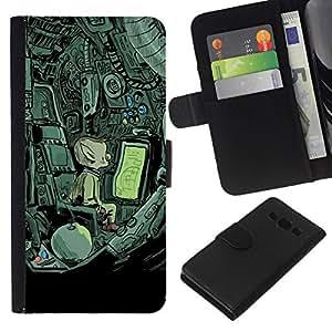 All Phone Most Case / Oferta Especial Cáscara Funda de cuero Monedero Cubierta de proteccion Caso / Wallet Case for Samsung Galaxy A3 // Alien Spaceship Mysterious Drawing