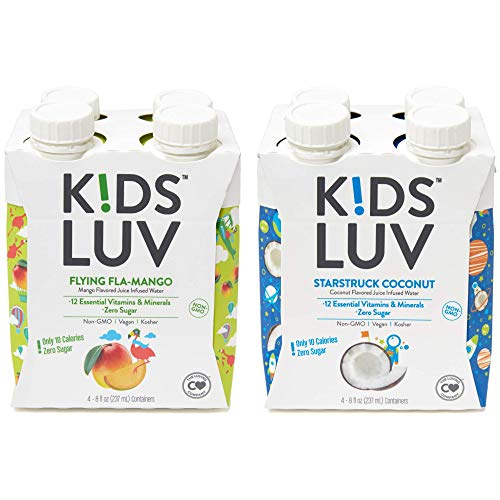 KidsLuv Vitamin Infused Flavored Kids Water, Zero Sugar, Certified Non-GMO, Vegan and Kosher, 8 ounce Tetra Pak Drink Boxes, 2 Flavor Variety Pack (Pack of 8) ()