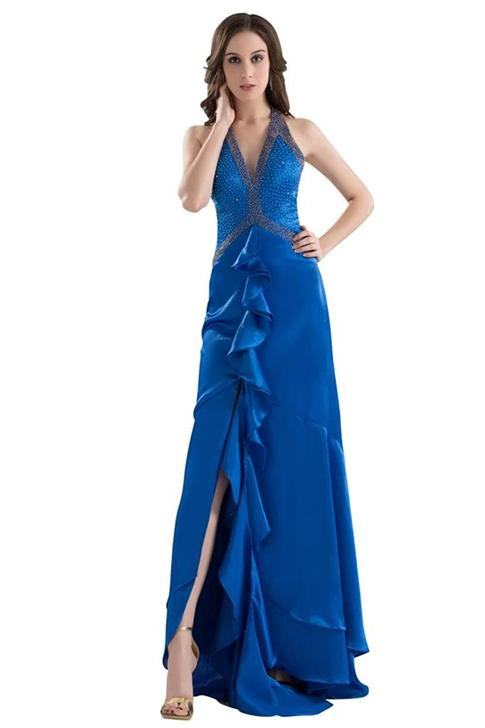 GEORGE BRIDE Halter Charming Evening Dress With Beaded Bodice