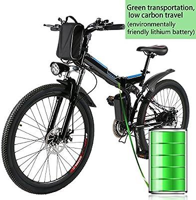 Profun Bicicleta Eléctrica Plegable con Rueda de 26 Pulgadas, Batería de Iones de Litio de Gran Capacidad (36 V 250 W), Suspensión Completa Calidad y Engranaje Shimano (Negro+Azul): Amazon.es: Deportes y aire