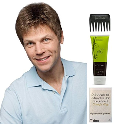 Stitched Brads (Bundle - 4 Items: Brad Wig By Ellen WIlle, Christy's Wigs Q & A Booklet, BeautiMark Synthetic Shampoo & Wide Tooth Comb - Color: M56s)
