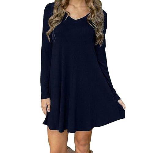 ba10268f8fc8 🔥LMMVP🔥Damen Bekleidung Elegant Kleid Damen Langarm Minikleid Abendkleid  Cocktailkleider Herbst Winter Kleid Kurzarm