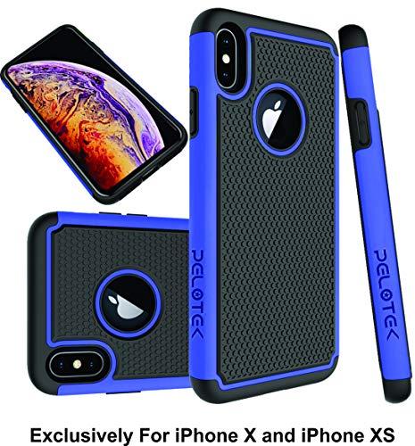 Pelotek; iPhone X Case, iPhone Xs Case, iPhone Xs Blue Case  Premium Hybrid Protective Case Durable Guard Design Precise Cutouts - Ultra Thin Slim Case - Soft Shock Adsorbing Blue Black Case (Blue)
