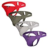 Sexy Men Thongs Breathable Hole Underwear Low Rise Pouch Jockstrap 4pcs(red+grey+green+purple) US X-Large/With Asian Tag XX-Large