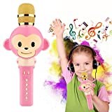 Wireless Bluetooth Karaoke Microphone for Kids Toys Gifts Song Recording Home KTV Party Portable Handheld Karaoke Speaker Machine for Android/iPhone/iPad/Sony/PC or All Smartphone (Pink)