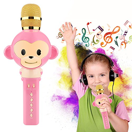 Microphone for Kids Children Karaoke Microphone Bluetooth Wireless Microphone Portable Handheld Karaoke Machine Toys Gifts Singing Recording Home KTV Party iPhone Android PC Smartphone (Pink)