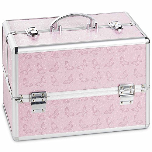 Beautify Large Pink Butterfly Professional Makeup Cosmetic Organizer Train Case 14'' Lockable Storage Box with Dividers by Beautify
