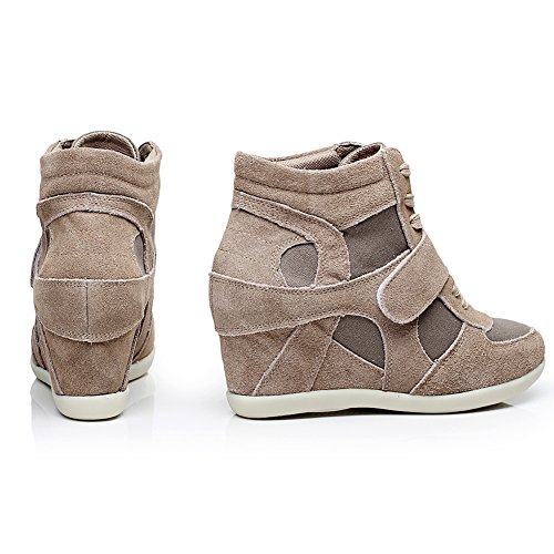 Elevator Sneakers High Up Heel Lightweight rismart 8522 Khaki Wedge Women US6 Fashion 5 Shoes Lace WqTnUnI