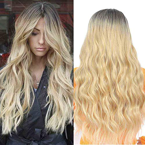 TIANTAI Long Wavy Ombre Wig for Women Dark Roots Ombre Blonde Wig Middle Parting Synthetic Replacement Wig 26 Inch