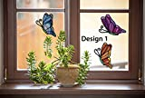 Butterfly Design 1 3-PACK - Stained Glass Style See-Through Vinyl Window Decal Copyright Yadda-Yadda Design Co. (4.75''w x 6''h, Design 1)