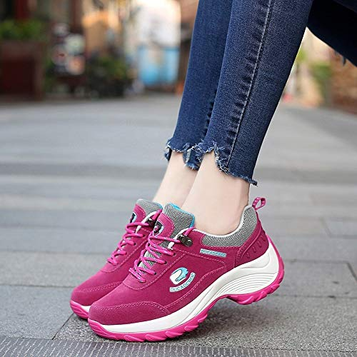 Casual Women'S Shoes Autumn Spring Cotton sho Women'S casual Red Shoes Shoes Fashion Sports Fashion Leather Shoes Rocking And Shoes Women'S Breathable rose IqSI6Cw