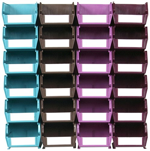 Triton Products LocBin 3-210MCWS Wall Storage Unit Interlocking Poly Bins with Wall Mount Rails 8-3/4-Inch L and Hardware, 24-Count, Multi Colored, 26-Piece
