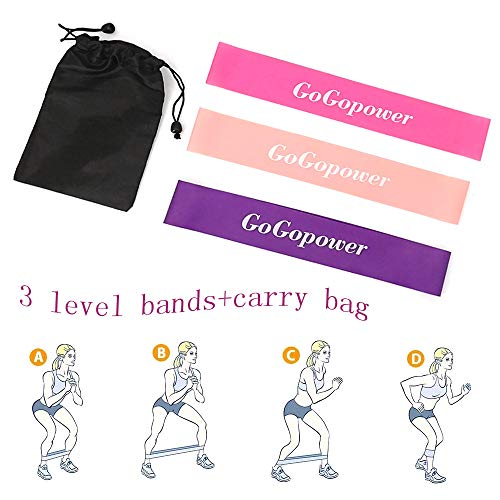 GoGoPower Resistance Bands Exercise Loops - Set of 3,12inch Workout Bands for Home Fitness, Stretching, Physical Therapy and More -Includes Free Carrying Bag
