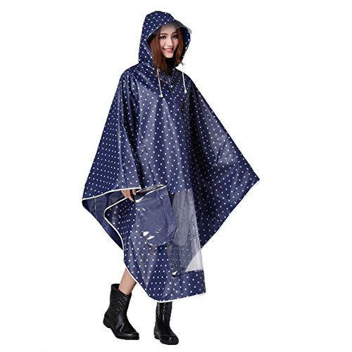 (Cycling Rain Poncho Reusable Motorcycle Scooter Reflective Waterproof Extra Large Hoodie Bike Raincoat with Drawstring and Transparent Brim Cape)