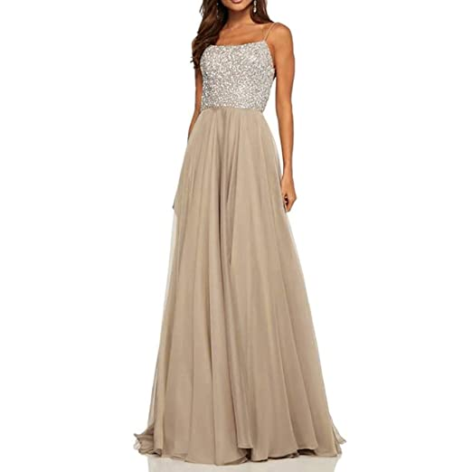 64ffd3e7de14 Formal Dresses for Women BXzhiri Sexy Halter Strap Chiffon Sleeveless Party  Prom Dress Gray