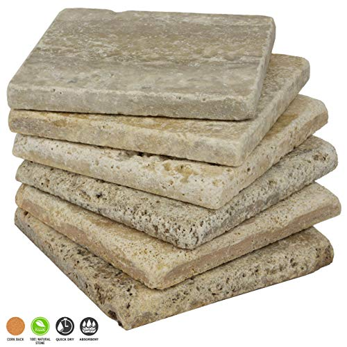 Stella Country Classic Travertine Drink Coasters - Set Of 6 - Premium Absorbent Tumbled Natural Stone