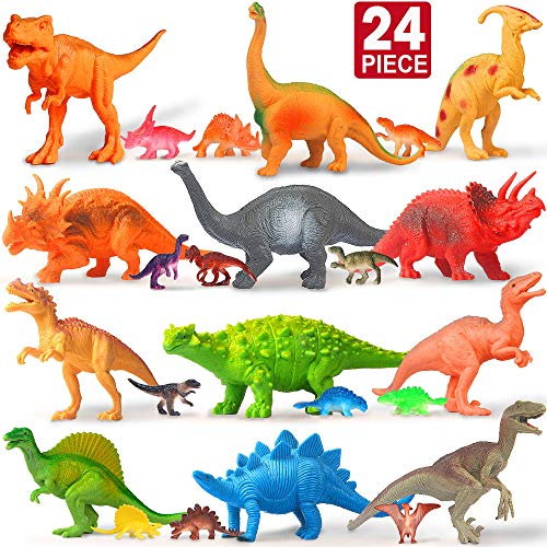 Cake Figurines Kids (Feroxo Dinosaur Toys Dinosaur Party Supplies - Realistic Plastic Toy Dinosaurs Figures with Book Kids Dinosaur Toys Birthday Favors for Boys Girls Figurines Cake Small Prizes Easter Egg Pinata)
