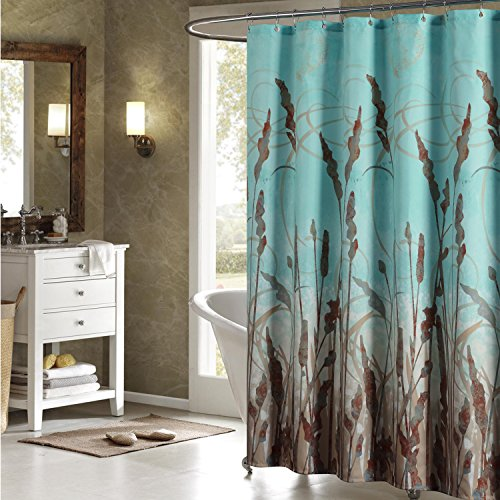 Uphome Beautiful Brown Wheat Plant Bathroom Shower Curtain - Teal Waterproof Polyester Fabric Decorative Bath Curtain Designs (72