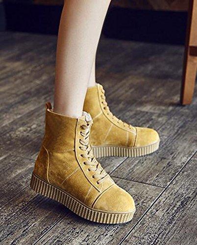 Chfso Donna Trendy Solido Completamente Foderato In Pizzo Lace Up Sneakers Piattaforma A Tacco Basso Stivali Da Neve Invernali Giallo