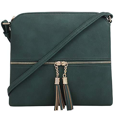 - SG SUGU Lightweight Medium Crossbody Bag with Tassel and Zipper Pocket (Olive)