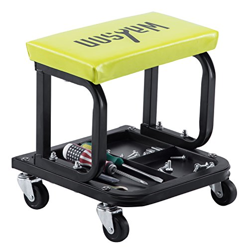 - WAHSON OFFICE CHAIRS Mechanic Roller Seat for Garage with Three Divisions Tool Tray Yellow Pneumatic Tire Repair Stool Creeper Chair