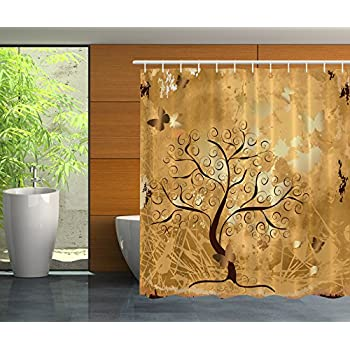 orange and brown shower curtain. Fall Tree Butterflies Antiqued Fairy Unique Design Digital Print Valentines  Day Home Decor Polyester Fabric Shower Amazon com Ambesonne Old Twisted