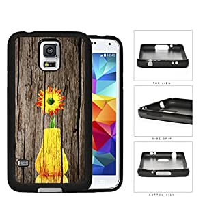 Yellow Vase Sunflower On Wood Bark Rubber Silicone TPU Cell Phone Case Samsung Galaxy S5 SM-G900