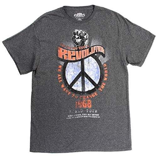 The Beatles Mens Revolution Front/Back Print T-Shirt (Grey, ()
