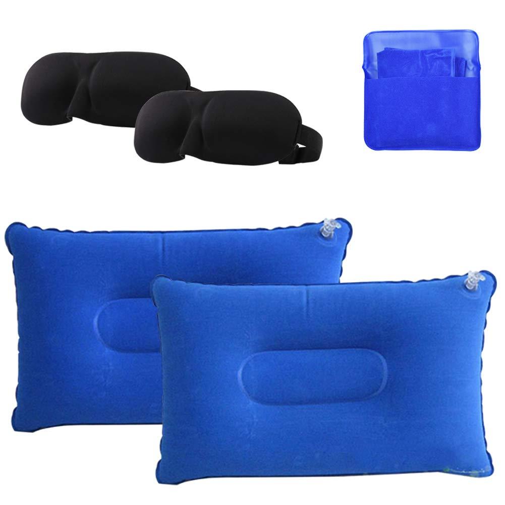 INTVN 2 x Almohada Inflable de Playa, 2 x Antifaz para Dormir, Almohada de Camping Ultraligera Portátil con Bolsa de Transporte para ...