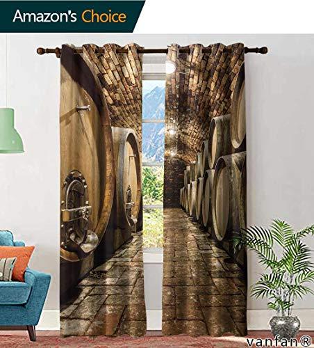 (LQQBSTORAGE Custom Pattern Curtains Panels Rows of Oak Barrels in Underground Wine Cellar, Curtains Girls Bedroom, W84 x L84 Inch, (2 Panels))