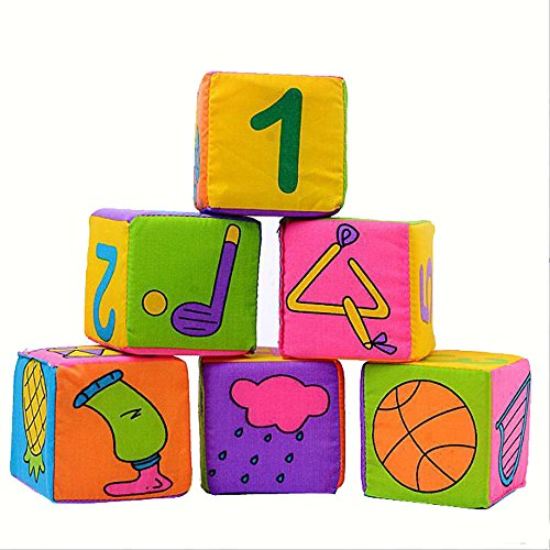Set Comforter Cube (6Pcs/Set Soft Cloth Rattle Building Blocks Toys Educational IQ Development Toy Cube Set Baby Kids Comforters Mumustar)