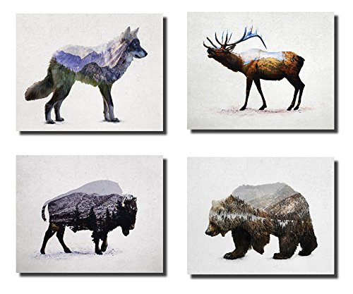 Gango Home Decor Rustic Elk, Bison, Wolf and Bear Landscape Set; Cabin Lodge Decor; Four 10x8in Unframed Poster Print