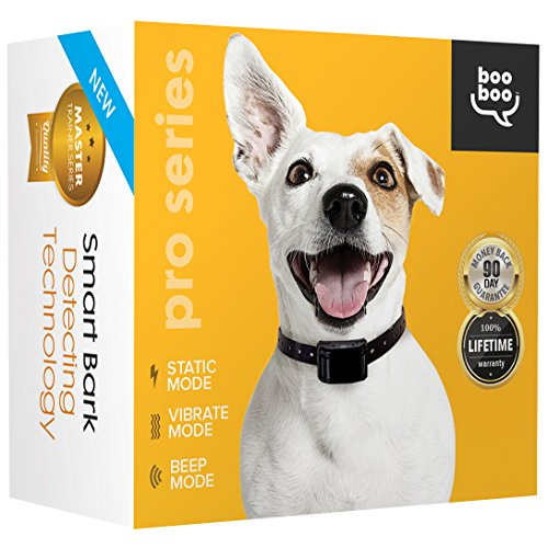 Smart Bark Collar for Dogs w/ NO Shock Setting - 3rd Gen Bark Detecting Technology w/Advanced Intelligent Training using Tone + Vibration + Static Correction All Size Dogs (10 - 100Lbs) by Sit Boo