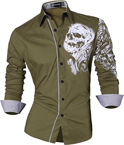 Lungo Casuale Giù Tasto Jzs041 Sottile armygreen Jzs042 Drago Camicia Del Vestito Tatuaggio Il Manicotto Sportrendy Del Del Uomini vq5BxB