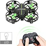 Dwi Dowellin Mini Drone Crash Guard LED Night Lights Altitude Hold 360° Flips Rolls Micro RC Quadcopter Remote Control One Key Take Off Landing Return Headless Mode