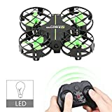 Dwi Dowellin Mini Drone with Crash Guard LED Night Lights Altitude Hold 360° Flips and Rolls Micro RC Quadcopter Remote Control One Key Take Off Landing Return Headless Mode