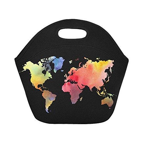 6e08c9a16f69 InterestPrint Atlas World Map Reusable Insulated Neoprene Lunch Tote Bag  Cooler, Colorful Portable Lunchbox Handbag for Men Women Adult Kids